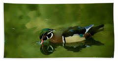 Male Wood Duck Water Reflections Beach Towel by Claudia Ellis