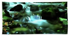 Beach Towel featuring the painting Water Rushing By A Rock In A River by Odon Czintos