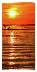 Water Skiing At Sunrise  Beach Towel