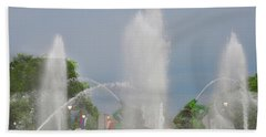 Water Spray - Swann Fountain - Philadelphia Beach Sheet by Bill Cannon