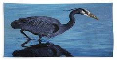 Water Stalker - Blue Heron Beach Towel