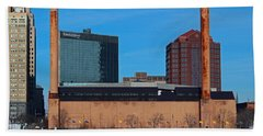 Beach Towel featuring the photograph Water Street Steam Plant In Winter by Michiale Schneider