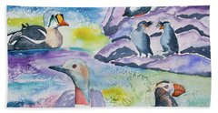 Watercolor - Alaska Seabird Gathering Beach Towel