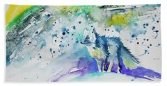 Beach Towel featuring the painting Watercolor - Arctic Fox by Cascade Colors