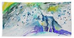 Watercolor - Arctic Fox Beach Towel
