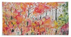 Beach Towel featuring the painting Watercolor - Autumn Forest by Cascade Colors