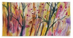 Beach Towel featuring the painting Watercolor - Autumn Forest Impression by Cascade Colors