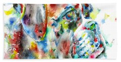Watercolor Boxer Beach Sheet