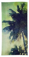 Watercolor Coconut Tree Tropical Vintage Palm  Beach Towel