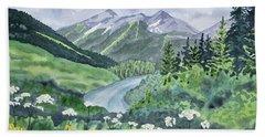 Watercolor - Colorado Summer Landscape Beach Sheet