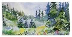 Beach Towel featuring the painting Watercolor - Colorado Summer Scene by Cascade Colors