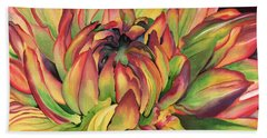 Watercolor Dahlia Beach Towel