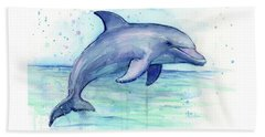 Watercolor Dolphin Painting - Facing Right Beach Towel
