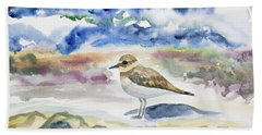 Beach Towel featuring the painting Watercolor - Double-banded Plover On The Beach by Cascade Colors