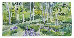 Watercolor - Early Summer Aspen And Lupine Beach Towel