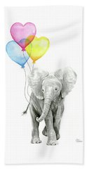 Watercolor Elephant With Heart Shaped Balloons Beach Towel