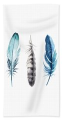 Watercolor Feathers Beach Towel by Jaime Friedman