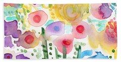 Watercolor Flower Garden- Art By Linda Woods Beach Towel