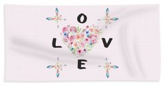 Beach Sheet featuring the painting Watercolor Flowers Arrows Love Typography by Georgeta Blanaru