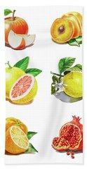Watercolor Food Illustration Fruits Beach Towel