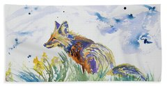 Beach Towel featuring the painting Watercolor - Fox On The Lookout by Cascade Colors