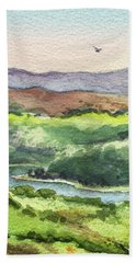 Beach Towel featuring the painting Watercolor Hills Of California by Irina Sztukowski