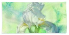 Watercolor Iris Beach Towel by Joan Bertucci
