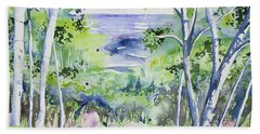 Beach Towel featuring the painting Watercolor - Lake Superior Impression by Cascade Colors