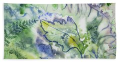 Beach Towel featuring the painting Watercolor - Leaves And Textures Of Nature by Cascade Colors