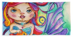 Watercolor Mermaidia Mermaid Painting Beach Sheet by Shelley Overton