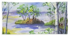Beach Towel featuring the painting Watercolor - Minnesota North Shore Landscape by Cascade Colors