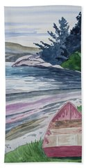 Beach Towel featuring the painting Watercolor - New Zealand Harbor by Cascade Colors