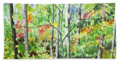 Beach Towel featuring the painting Watercolor - Northern Forest by Cascade Colors