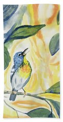 Beach Towel featuring the painting Watercolor - Northern Parula In Song by Cascade Colors