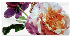 Watercolor Of Two Roses In Pink And Violet On One Stem That  I Dedicate To Jacques Brel Beach Sheet