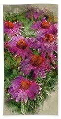 Watercolor Painting Of Echinacea Purpure Coneflower Rubinstern Flower Beach Towel