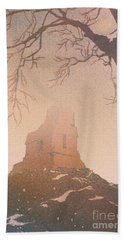 Beach Towel featuring the painting Watercolor Painting Of Mayan Temple- Tikal, Guatemala by Ryan Fox