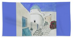 Beach Towel featuring the painting Watercolor - Paros Church And Street Scene by Cascade Colors