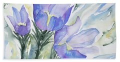 Beach Towel featuring the painting Watercolor - Pasque Flowers by Cascade Colors