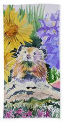 Beach Towel featuring the painting Watercolor - Pika With Wildflowers by Cascade Colors