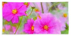 Beach Sheet featuring the painting Watercolor Pink Cosmos by Bonnie Bruno