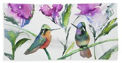 Watercolor - Purple-throated Mountain Gems And Flowers Beach Towel