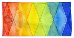 Watercolor Rainbow Pattern Geometric Shapes Triangles Beach Towel