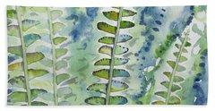 Watercolor - Rainforest Fern Impressions Beach Towel