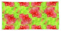 Watercolor Red Hibiscus Tropical Aloha Botanical Beach Towel