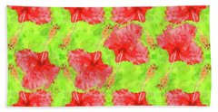 Watercolor Red Hibiscus Tropical Aloha Botanical Beach Sheet