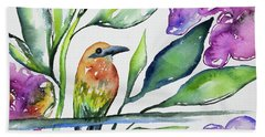Beach Towel featuring the painting Watercolor - Rufous Motmot by Cascade Colors