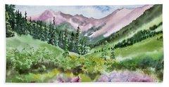 Watercolor - San Juans Mountain Landscape Beach Sheet