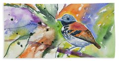 Beach Towel featuring the painting Watercolor - Spotted Antbird by Cascade Colors
