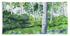 Beach Towel featuring the painting Watercolor - Spring Forest And Flowers by Cascade Colors